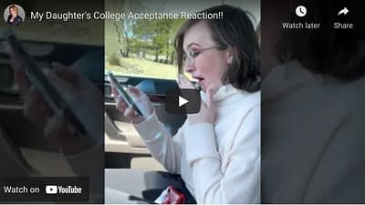Girl reacts to college acceptance to CalArts