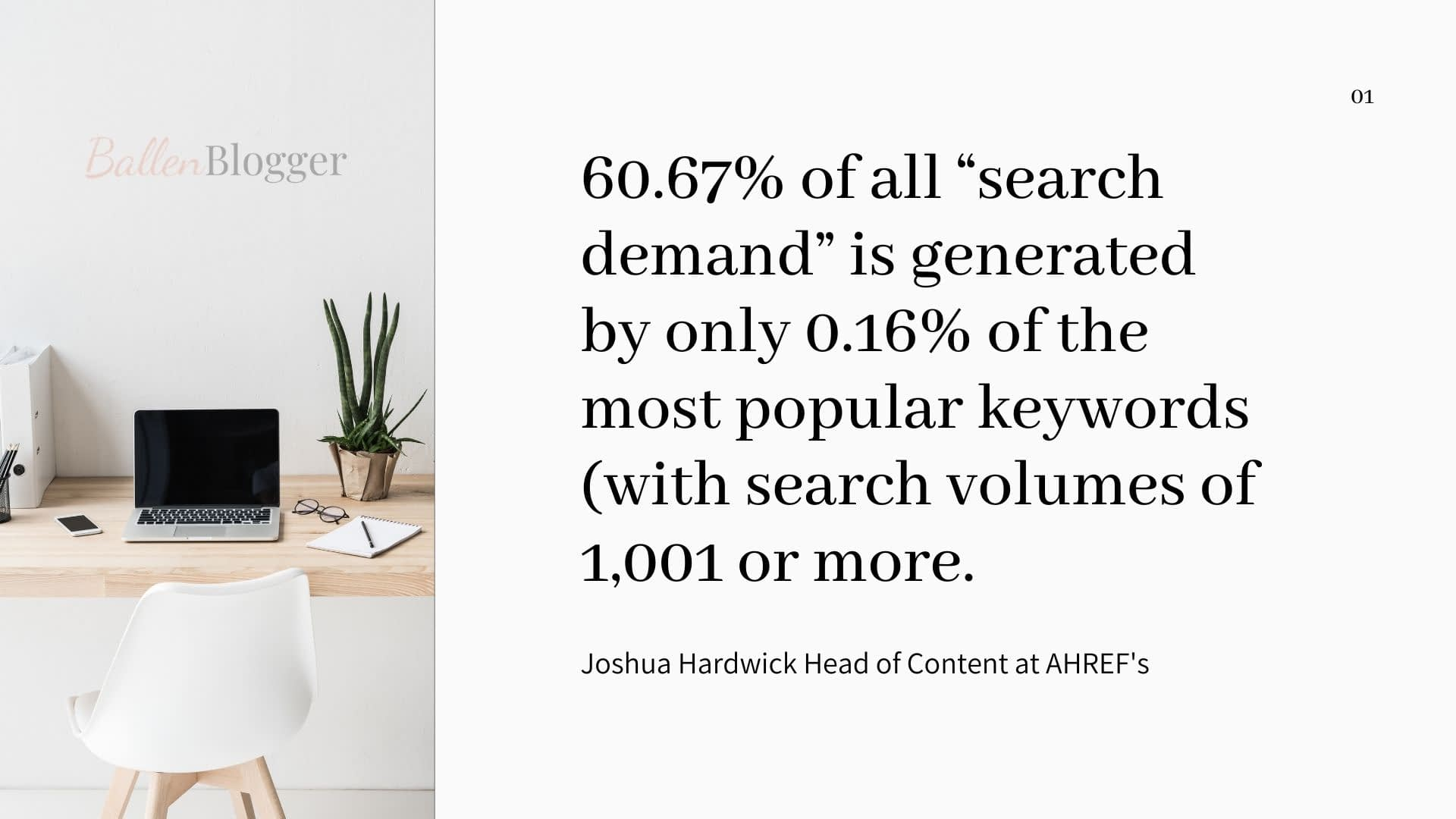 """60.67% of all """"search demand"""" is generated by only 0.16% of the most popular keywords (with search volumes of 1,001 or more. Which means that the other 39.33% belongs to the 99.84% of queries with one thousand or fewer searches per month—i.e., """"long tail"""" keywords."""