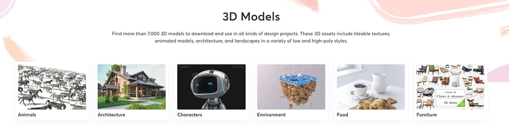 3D files on Creative Market are searchable by tools, categories, and subcategories.